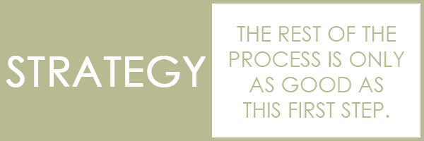 STRATEGY – The rest of the process is only as good as this first step.