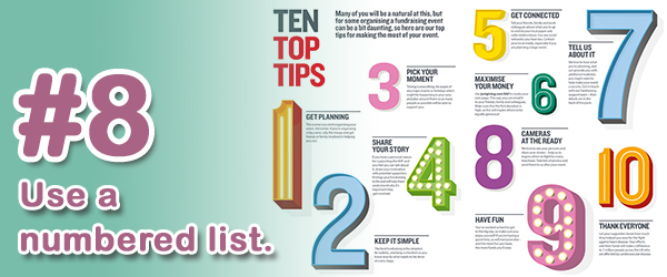 Tip #8 (of 14) - Use a numbered list