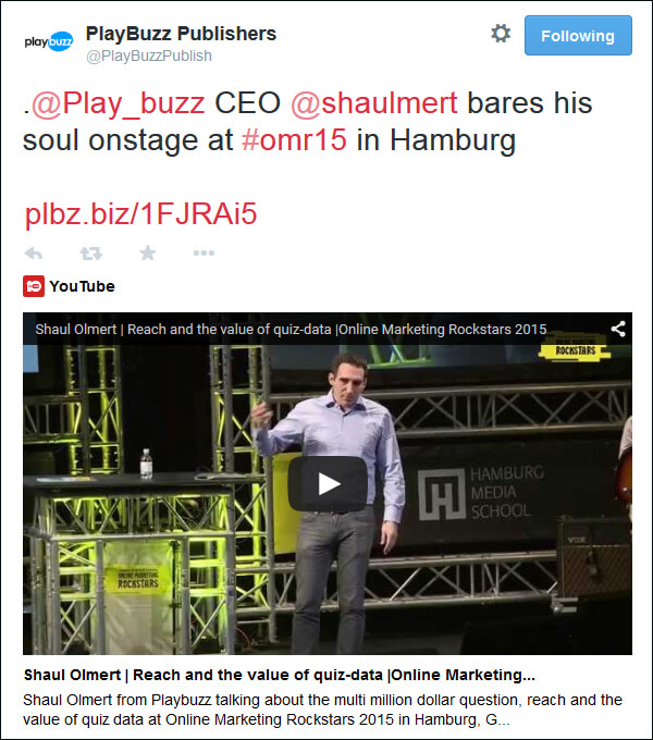 Tweeting about or CEO Shaul Olmert at a live event