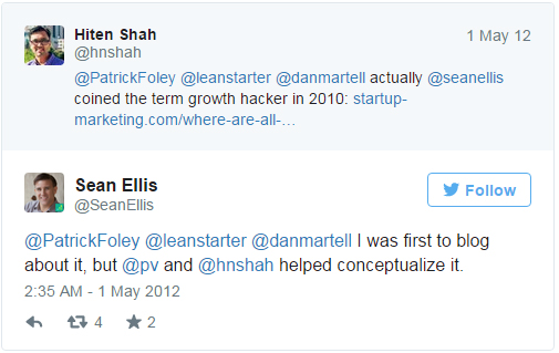 "Sean Ellis tweet about coining the term ""growth hacking"""