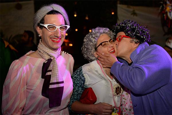 Scott and Yuval dressed up as grandmas