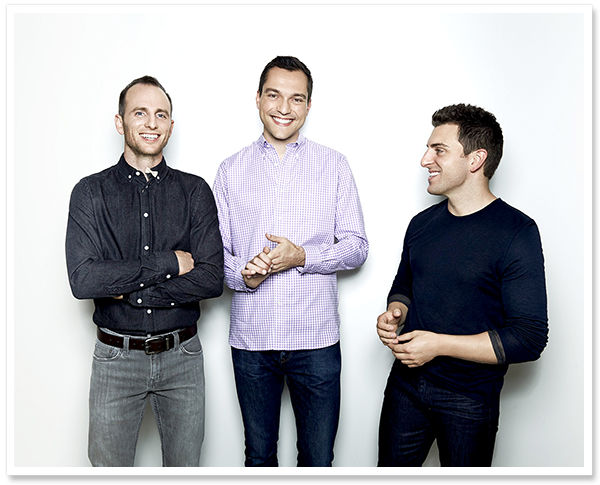 Airbnb's 3 co-founders (left to right) Joe Gebbia (CPO), Nathan Blecharczyk (CSO) & Brian Chesky (CEO)