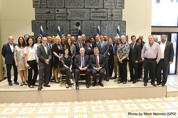 Participants of the #PowerInDiversity initiative with Israeli President Reuven Rivlin at his residence, May 28, 2017