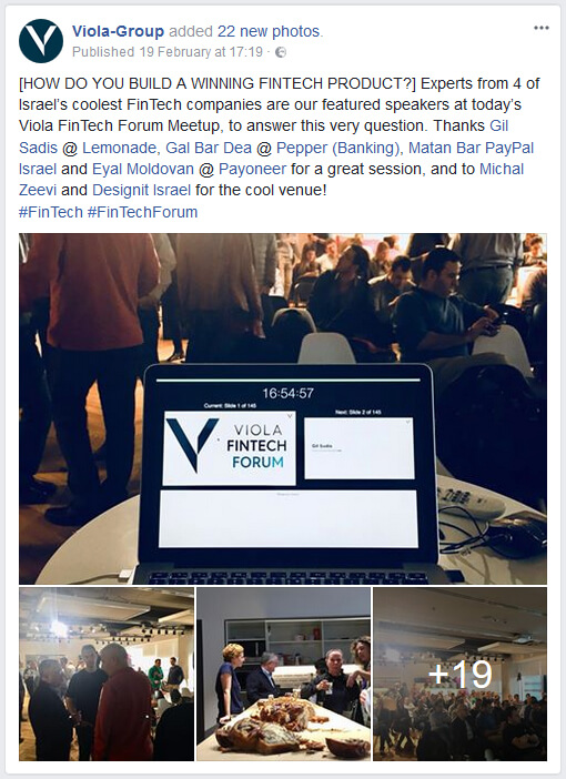 Viola FinTech Forum meetup, Feb 2018 - Facebook album screenshot