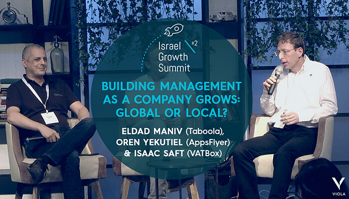 Eldad Maniv, Isaac Saft and Oren Kaniel at the Israel Growth Summit 2018