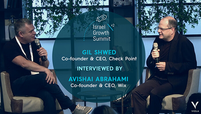 Gil Shwed and Avishai Abrahami at the Israel Growth Summit 2018
